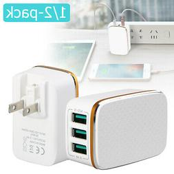 1/2-pack 3-Port USB 5V 3.4A Wall Home Travel AC Fast Charger