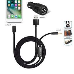 Car Aux Cord Adapter for iPhone 7,2 in 1 Aux cable USB Charg