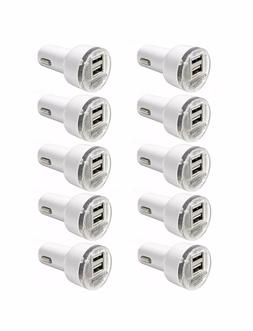 10 Pack Dual USB Port Car Charger Adapter 2.1A For iPhone LG