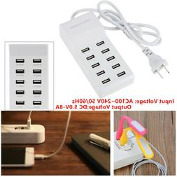 10 Port Fast USB Charger Hub Power Strip Adapter for Wall Tr