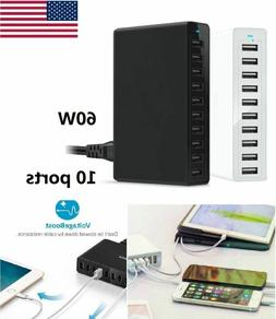 10 Port Fast USB Charging Station Power Adapter 50W Travel D