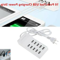 10 Ports USB Charging Power Strip Adapter Wall Travel Phone