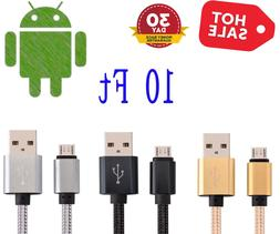 10FT Micro USB Fast Charger Data Sync Cable Braided Cord for