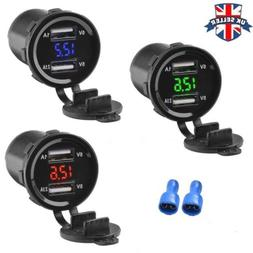 12V-24V Dual 2 USB Port Car Boat Charger Socket Voltage Digi