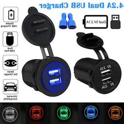 4.2A Dual USB Car Cigarette Lighter Socket Splitter Charger