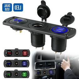 12V Dual USB Car Cigarette Lighter Socket Splitter Power Ada