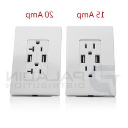 15A / 20A AMP USB Charger Outlet Receptacle w/ Wallplate - W