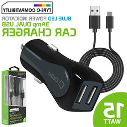 15W 3A Dual Port USB Car Charger + Type-C Cable for Galaxy S