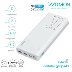 ROMOSS 18W PD QC3.0 20000mAh Portable Charger Power Bank Typ