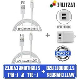 2.1A Double USB Wall Cube charger 2 USB cable 3ft & 6ft for