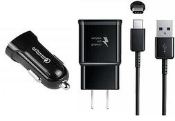 2 AMP WALL+DUAL USB CAR CHARGER ADAPTER +TYPE C USB+HEADSET