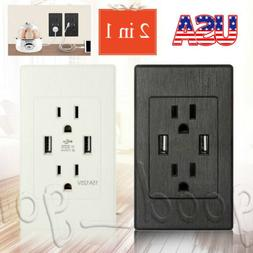 2 Outlet 2 USB Port Wall Socket Charger AC Power Receptacle