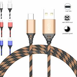 2-Pack 3FT USB-C Type-C Nylon Braided Data Sync Charger Fast