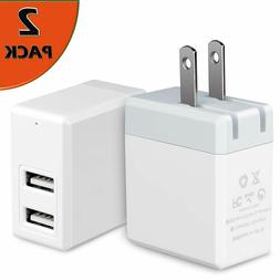 2 Pack USB Wall Charger Dual Port, 5V/2.4A Portable Travel A