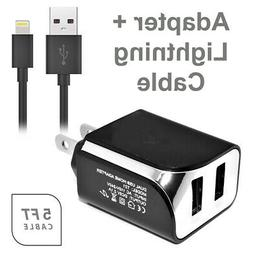 2in1 USB Wall Charger 2.1 amp+Data Charging 5 Feet Cable For