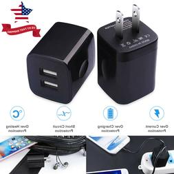 2*USB Wall Chargers 2.1A Dual Port Phone Charging Base Cube