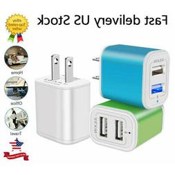 3Pc Fast Wall Charger 2.1A Dual Port Phone Charging Cube Cha