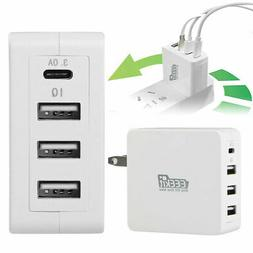 3.0A USB Type-C Wall Charger 4-Port Fast Charging PowerPort