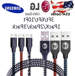 3/6/10Ft Micro USB 3.0 Fast Charger Data Sync Cable Cord For