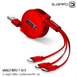 3 in 1 Multi USB Retractable Charger Cable Cord For iPhone U