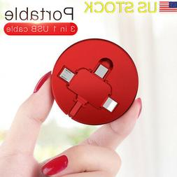 3 in1 Retractable Multi Type-C Micro USB Cable Fast Charger