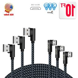 3Pack 10ft long 90 Degree Right Angle Micro USB Charger Cabl