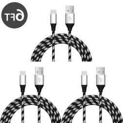 3 PACK 6ft Type-C USB-C Nylon Braided Fast Charger Cable Qui