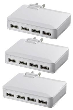 3-PAK NEW Insignia 4-Port USB Wall Charger 4.2A 21W White Un