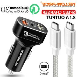 3-Port USB 8.4A Car Charger Adapter Fast USB-C Charging for