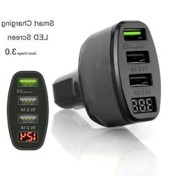 3-Port USB Car Charger Adapter LED Display QC 3.0 Fast Charg