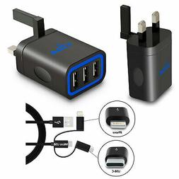 Fast Multi Port Wall Charger Mains UK Plug 5V with USB-C iPh