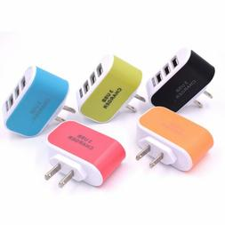 3-Port USB Multi Adapter Travel Wall AC Fast Charger EU/US P