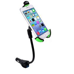 3 USB Port Cell Phone Car Charger Holder Mount With Cigarett