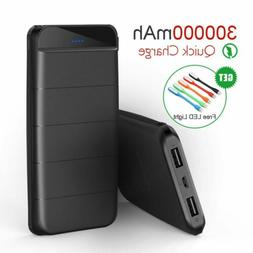 300000mAh Portable Power Bank Battery Charger 2 USB LED Type