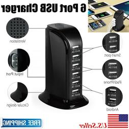 30W Multi 6 USB Port Desktop Charger Rapid Tower Charging St