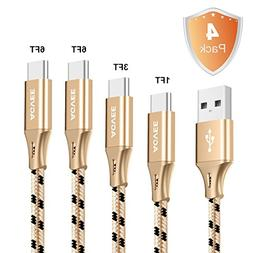 3A Fast Heavy Duty, Agvee Seamless USB C Cable, 4 Pack 1FT 3