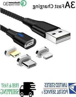 3A Magnetic Phone Charger Cable  IOS/  Micro USB /USB Type-C
