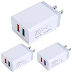3Pack Wall Charger USB Plug Dual Port Charging Block Fast Ch