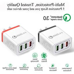 3Port Fast Qualcomm Quick Charge QC 3.0 USB Hub Wall Charger