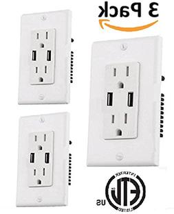 Teklectric 4.2A High Speed Dual USB Charger Outlet 15A Tampe