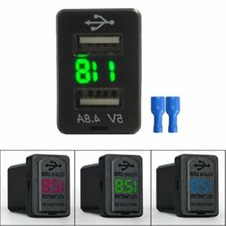 4.8A Car Charger Socket Dual USB Port Charging Volt Display