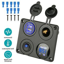 4 in 1 Panel Dual USB Socket Charger+LED Voltmeter+12V Power
