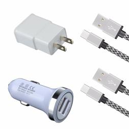 4 Kits USB-C Cable Wall Car Charger for LG G7 ThinQ K30 Q8 G