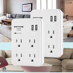 Electrical Multi 4 Outlet w/ 2 USB Port Wall Tap Surge Prote