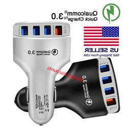 4-Port USB Car Charger Adapter QC 3.0 Fast Charging For iPho