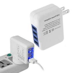 4 Ports USB Wall Charger Multi-Port Smart Phone Power Adapte