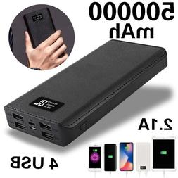 4 USB Charger LCD Digital Mobile Power Bank 500,000mAh LED E