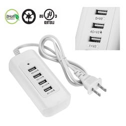 4 USB Outlet Power Strip Adapter Wall Charger Fast Charging