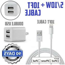 5,10W White Double USB Wall charger & 10ft 8Pin lightning US