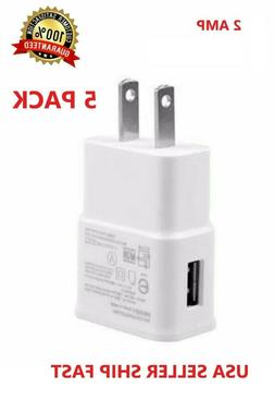 5-Pack 2AMP USB POWER ADAPTER WALL CHARGER For Universal SAM